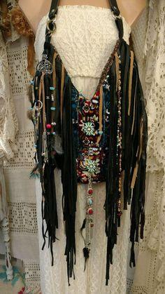 Handmade Black Leather Fringe Shoulder Bag Purse Charm Hippie Boho Hobo tmyers #Handmade #ShoulderBag
