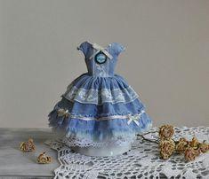 Pullip clothes, Blythe dress, pullip dress, blythe clothes, blythe outfit, pullip outfit, dress with lace, doll dresses, blue vintage dress
