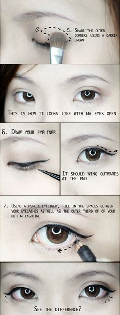 Winged liner tutorial for almond shaped eyes - Click image to find more Hair & Beauty Pinterest pins