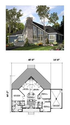 A-Frame Style COOL House Plan ID: chp-3363 | Total Living Area: 1501 SQ FT, 3 bedrooms and 2 bathrooms. #aframe