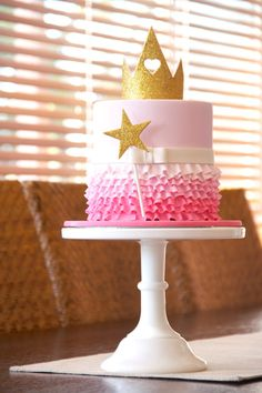 Princess Crown & Wand Ruffle Cake - Princesses & Tiaras ~ Princess Party Ideas, Princess Themed Events, Princess Party Inspiration & More
