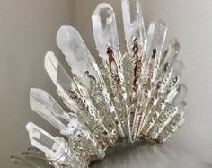 The ORLA Crystal Bun Comb - Classic Natural Stone - Art Deco Fan - Quartz  - Tiara Small Crown - Great Gatsby, 20s, prom, vintage.