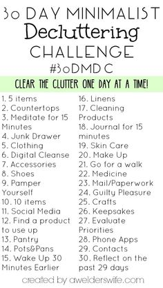 Minimalist Declutter Challenge: 30 Days to Declutter Your Home - - Do you feel like clutter is taking over your life? Then you need to try this 30 Day Minimalist Declutter Challenge I created! Minimalism Challenge, Minimalism Living, Motivation, Vie Simple, Minimalist Lifestyle, Minimalist Kids, Minimalist Quotes, Minimalist Beauty, Declutter Your Home