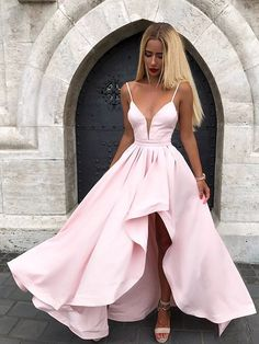 Cheap Excellent Pink Prom Dresses Pink V Neck Satin Long Prom Dress, Pink Evening Dress Best Formal Dresses, Prom Dresses Long Pink, Straps Prom Dresses, Pretty Prom Dresses, High Low Prom Dresses, Simple Prom Dress, V Neck Prom Dresses, Cheap Prom Dresses, Prom Party Dresses