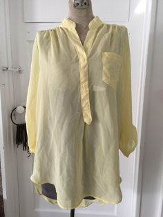 Light Yellow High Low Blouse Top 4 4 Sleeve Buttons Pocket M Pastel Spring   eBay
