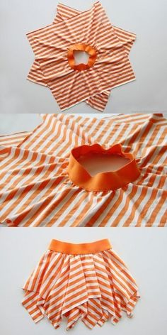 Çizgi desenli kolay kız çocuk elbise dikimi modeli