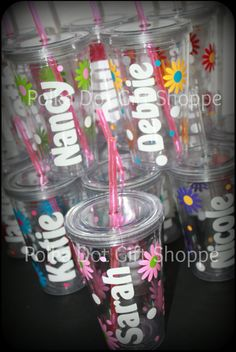 Bridesmaid acrylic tumblers made to match!  Yes, get your girls something they'll really like!