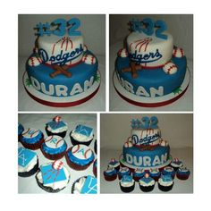 Dodgers theme cake & cupcakes Dodgers Cake, Dodgers Party, 13th Birthday Parties, Baby Birthday, Birthday Cake, Sports Party, Cakes For Men, Themed Cakes, Party Themes