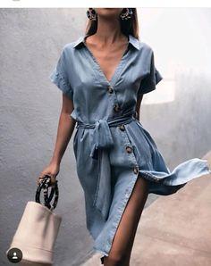 fb5d7011ba ZARA SOFT SKY BLUE DENIM BUTTONED SHIRT DRESS MIDI BELT SIZE M UK 10   fashion