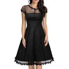 Black Lace Hollow Out Vintage Dress