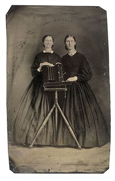 [tintype portrait of two women posed with a camera box] via Cowan's Auctions ca. [tintype portrait of two women posed with a camera box] via Cowan's Auctions Antique Photos, Vintage Pictures, Vintage Photographs, Old Pictures, Vintage Images, Old Photos, Victorian Photos, Old Photography, History Of Photography