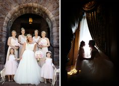 Blush pink bridesmaid and flower girl dresses at The Van Dusen Mansion in Minneapolis MN | Vick Photography