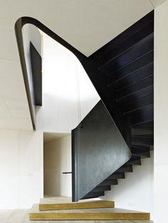 Steel stairway.