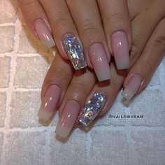 Holo glitter / Mylar glitter flake + Soft Franch Long square tip nails by @nailsbysab #nail #nailart Shattered Glass Nails