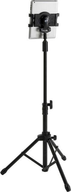 Adjustable iPad Tablet Tripod Floor Stand, with Tilting & Rotating Bracket - Black