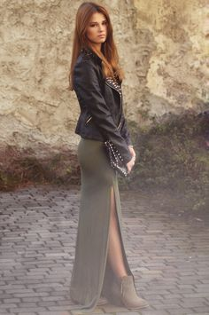 green maxi + faux leather jacket @Stephanie McCurley @Kristen Williams
