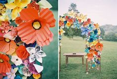 Paper flowers. Great inexpensive idea! It'd take a buttload of time though..