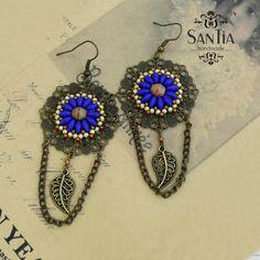 Kruhové náušnice modro-bronzové mandalové :http://santiahandmade.com/produkt/kruhove-nausnice-modro-bronzove-mandalove/
