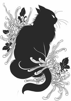 Image of Black Cat 1 Black Cat Drawing, Black Cat Painting, Brush Pen Art, Halloween Sewing, Witch Cat, Cat Boarding, Drawing Reference Poses, Cat Tattoo, Pretty Pictures