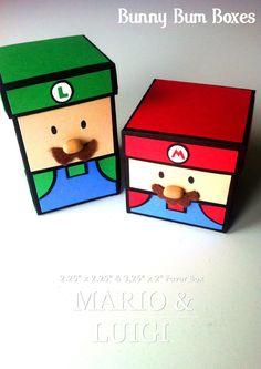 Mario and Luigi Favor Boxes. Valentine Day Boxes, Valentines For Boys, Valentine Day Crafts, Holiday Crafts, Holiday Fun, Printable Valentine, Homemade Valentines, Valentine Wreath, Valentine Ideas