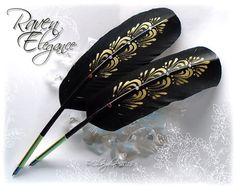 Hey, I found this really awesome Etsy listing at https://www.etsy.com/listing/233517611/raven-elegance-totem-feather-quill-pen
