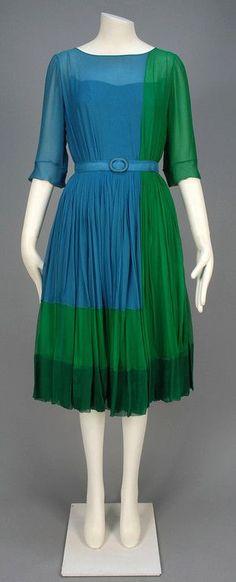 James GALANOS COLORBLOCK SILK DRESS, c. 1960. | vintage 60s dress