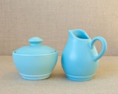 Vintage Pfaltzgraff - Terrace Aqua Pattern - Creamer & Sugar Bowl by MyAffordableVintage on Etsy