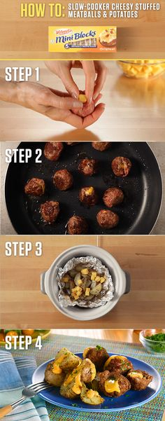 These Cheesy Stuffed Meatballs and Potatoes might be a slow-cooker recipe but they're sure to be a fast favorite with the extra creamy goodness of VELVEETA MIni Blocks. Get the full Liquid Gold recipe and more at http:// www.kraftrecipes.com/velveeta.aspx