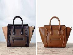 Celine Tricolor Brown Anthracite Mini Luggage and Baby Calf skin Bag Winter 2014