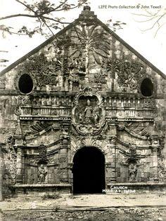 Miagao Church, Miagao, Iloilo, Philippines, unknown date early Century 2 Filipino Architecture, Time Inc, Church History, Vintage Pictures, Philippines, Rap, Cities, Nostalgia, Louvre