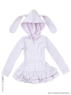 48cm/50cm Doll Wear - AZO2 Rabbit Ears Parka One-piece / Lavender (DOLL CLOTHING)(Released)(48cm/50cm用 AZO2うさみみパーカーワンピ ラベンダー (ドール用衣装))