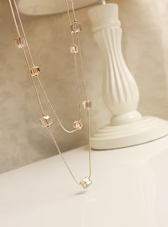 Trendy Pure Simple Bright Square Crystal Necklaces Pendants Long Chain Female Fashion Jewelry Making Classic Choker Necklaces