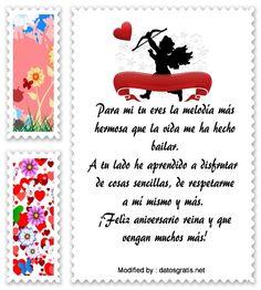 saludos de aniversario,sms bonitos de aniversario,textos de aniversario para whatsapp: http://www.datosgratis.net/bonitos-mensajes-de-aniversario-para-novios/
