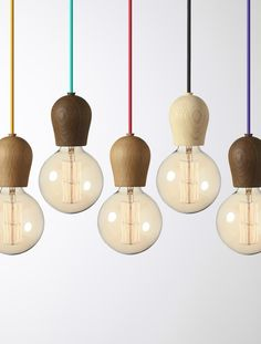 Nordic Tales - Hanglamp Bright Sprout Oak Soaped met paarse snoerdraad. | LightPoint Europe - verlichtingswinkel - groothandel verlichting - lichtstudies