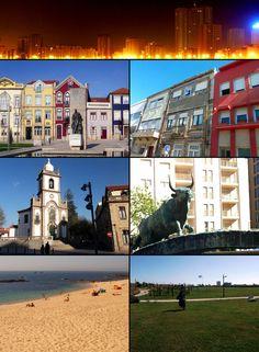 Clockwise from top: Nova Póvoa, Rua Santos Minho, Touro, the City Park, Lagoa Beach, Senhora das Dores Church, and Praça do Almada.