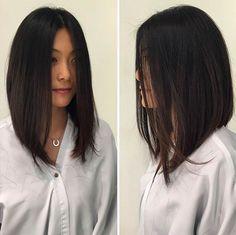 Straight, Angled Long Bob (Lob) Haircut