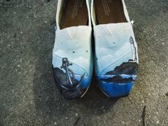 Anchor Themed Toms. Nautical Theme Toms. Lighthouse Toms. Wedding Theme Toms, Hand painted Toms Shoes.