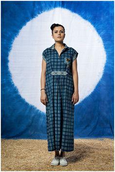 Indigo Checkered Maxi Dress by FAYAKUN on Etsy  Coni Hörler Photography