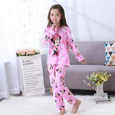 eaf17ea357d2 Children Simple Pajama Long Sleeve Girls Pajamas Set