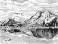 mountain drawing pencil sketch range drawings landscape semeniuk kayleigh mountains canadian draw simple sketches reflection easy scenery created paintingvalley 31st