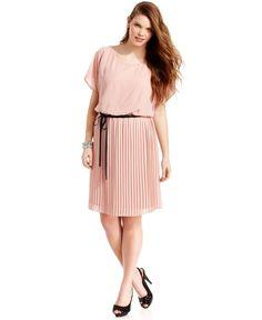 trixxi plus size dress, short-sleeve polka-dot belted a-line