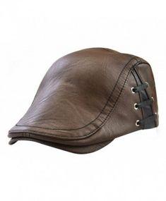 f2e9e8e02d1 YOYEAH Men s Leather newsboy Cap IVY Gatsby Flat Golf Driving Hunting Hat -  Brown-1