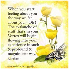 When you start feeling about you the way we feel about you, oh, the avalanche of stuff that's in your vortex will begin flowing into your experience in such a profound and magnificent way. -Abraham Hicks Quotes