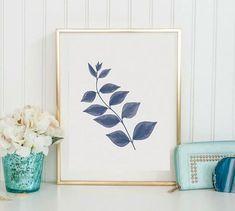 Blue Botanical Print Leaf Wall Art Set of 4 Navy Blue Print Navy Blue Wall Art, Navy Blue Walls, Wall Art Sets, Wall Art Prints, Blue And White Living Room, Impressions Botaniques, Blue Plants, Leaf Wall Art, Coastal Wall Art