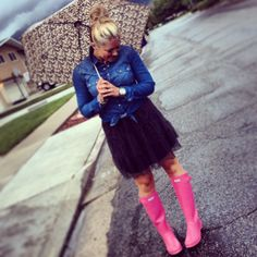 Pink Hunter rain boots - so girly and cute!!