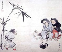 Children and puppies. Rosetsu Nagasawa. Japanese 一笑図(長沢芦雪 画)