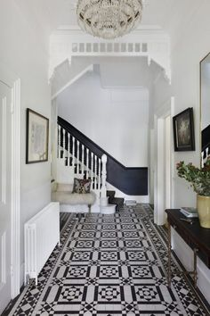 Elegant Homes Decor Ideas: A Magnificent and Modern London Townhouse White Hallway, Tiled Hallway, Dado Rail Hallway, Dark Blue Hallway, Dado Rail Living Room, Hall Tiles, Modern Staircase, Staircase Design, Staircase Ideas