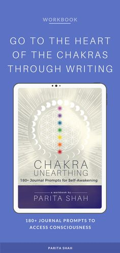Along with 180+ journal prompts, the workbook offers an introduction to the 7 main chakras for beginners, and tips for chakra balancing. Parita shares meditation, breathing exercises, crystals, essential oils, yoga poses, lifestyle tweaks, and mindset shifts to support mind and body balance.  Guided writing prompts lead readers through reflection and self-inquiry to raise their level of self-awareness.   Chakra Workbook - Writing Prompts - Spiritual Journal - Journal Inspiration
