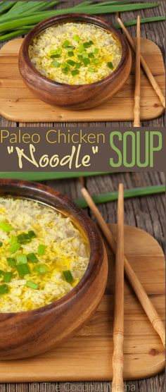 "Paleo chicken ""noodle"" soup is a nourishing dish made with bone broth, egg drop noodles and pasture raised chicken."