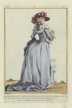 damesalamode:  Gallerie des Modes, 1784. I love her huuuuuuge train and huuuuuuuge hat!